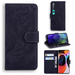 Intricate Embossing Tiger Face Leather Wallet Case for Xiaomi Mi 10 / Mi 10 Pro 5G - Black