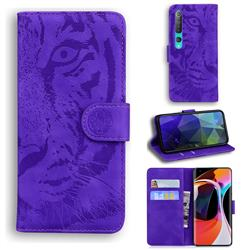 Intricate Embossing Tiger Face Leather Wallet Case for Xiaomi Mi 10 / Mi 10 Pro 5G - Purple