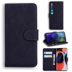 Retro Classic Skin Feel Leather Wallet Phone Case for Xiaomi Mi 10 / Mi 10 Pro 5G - Black