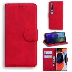 Retro Classic Skin Feel Leather Wallet Phone Case for Xiaomi Mi 10 / Mi 10 Pro 5G - Red