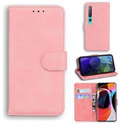 Retro Classic Skin Feel Leather Wallet Phone Case for Xiaomi Mi 10 / Mi 10 Pro 5G - Pink