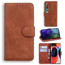 Retro Classic Skin Feel Leather Wallet Phone Case for Xiaomi Mi 10 / Mi 10 Pro 5G - Brown