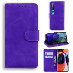 Retro Classic Skin Feel Leather Wallet Phone Case for Xiaomi Mi 10 / Mi 10 Pro 5G - Purple