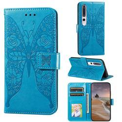 Intricate Embossing Rose Flower Butterfly Leather Wallet Case for Xiaomi Mi 10 / Mi 10 Pro 5G - Blue