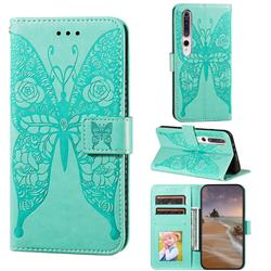 Intricate Embossing Rose Flower Butterfly Leather Wallet Case for Xiaomi Mi 10 / Mi 10 Pro 5G - Green