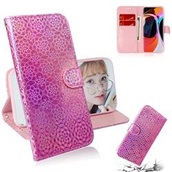 Laser Circle Shining Leather Wallet Phone Case for Xiaomi Mi 10 / Mi 10 Pro 5G - Pink