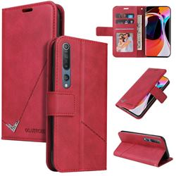 GQ.UTROBE Right Angle Silver Pendant Leather Wallet Phone Case for Xiaomi Mi 10 / Mi 10 Pro 5G - Red