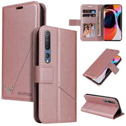 GQ.UTROBE Right Angle Silver Pendant Leather Wallet Phone Case for Xiaomi Mi 10 / Mi 10 Pro 5G - Rose Gold