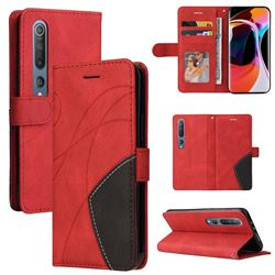 Luxury Two-color Stitching Leather Wallet Case Cover for Xiaomi Mi 10 / Mi 10 Pro 5G - Red
