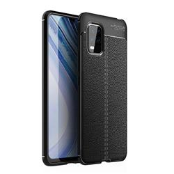 Luxury Auto Focus Litchi Texture Silicone TPU Back Cover for Xiaomi Mi 10 Lite - Black