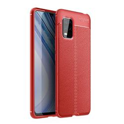 Luxury Auto Focus Litchi Texture Silicone TPU Back Cover for Xiaomi Mi 10 Lite - Red