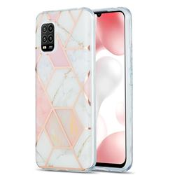 Pink White Marble Pattern Galvanized Electroplating Protective Case Cover for Xiaomi Mi 10 Lite