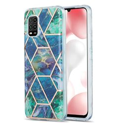 Blue Green Marble Pattern Galvanized Electroplating Protective Case Cover for Xiaomi Mi 10 Lite