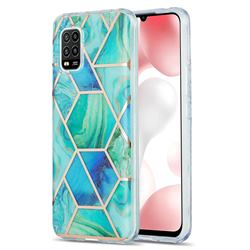 Green Glacier Marble Pattern Galvanized Electroplating Protective Case Cover for Xiaomi Mi 10 Lite