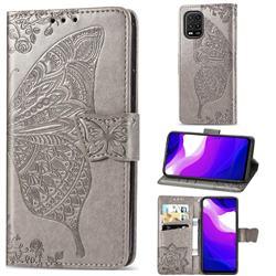 Embossing Mandala Flower Butterfly Leather Wallet Case for Xiaomi Mi 10 Lite - Gray