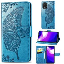 Embossing Mandala Flower Butterfly Leather Wallet Case for Xiaomi Mi 10 Lite - Blue