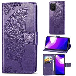 Embossing Mandala Flower Butterfly Leather Wallet Case for Xiaomi Mi 10 Lite - Dark Purple