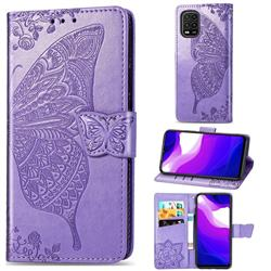 Embossing Mandala Flower Butterfly Leather Wallet Case for Xiaomi Mi 10 Lite - Light Purple
