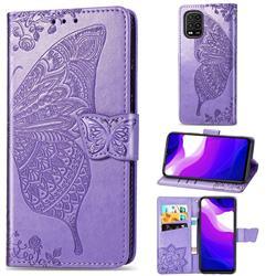 Embossing Mandala Flower Butterfly Leather Wallet Case for Xiaomi Mi 10 Lite - Light Purple
