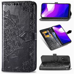 Embossing Imprint Mandala Flower Leather Wallet Case for Xiaomi Mi 10 Lite - Black