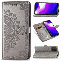 Embossing Imprint Mandala Flower Leather Wallet Case for Xiaomi Mi 10 Lite - Gray