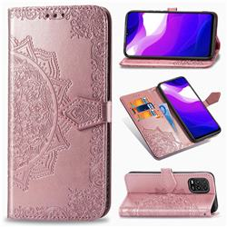 Embossing Imprint Mandala Flower Leather Wallet Case for Xiaomi Mi 10 Lite - Rose Gold