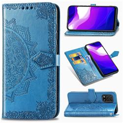 Embossing Imprint Mandala Flower Leather Wallet Case for Xiaomi Mi 10 Lite - Blue