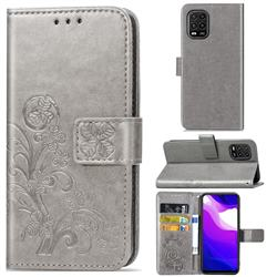 Embossing Imprint Four-Leaf Clover Leather Wallet Case for Xiaomi Mi 10 Lite - Grey