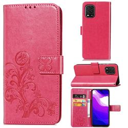 Embossing Imprint Four-Leaf Clover Leather Wallet Case for Xiaomi Mi 10 Lite - Rose Red