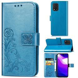 Embossing Imprint Four-Leaf Clover Leather Wallet Case for Xiaomi Mi 10 Lite - Blue