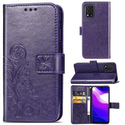 Embossing Imprint Four-Leaf Clover Leather Wallet Case for Xiaomi Mi 10 Lite - Purple