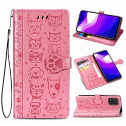 Embossing Dog Paw Kitten and Puppy Leather Wallet Case for Xiaomi Mi 10 Lite - Pink