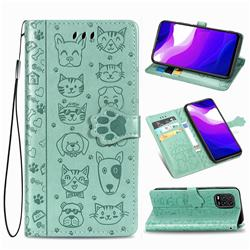 Embossing Dog Paw Kitten and Puppy Leather Wallet Case for Xiaomi Mi 10 Lite - Green