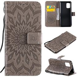 Embossing Sunflower Leather Wallet Case for Xiaomi Mi 10 Lite - Gray