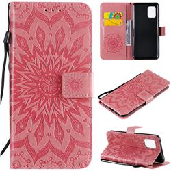 Embossing Sunflower Leather Wallet Case for Xiaomi Mi 10 Lite - Pink