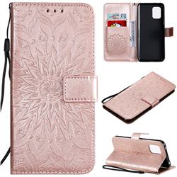 Embossing Sunflower Leather Wallet Case for Xiaomi Mi 10 Lite - Rose Gold
