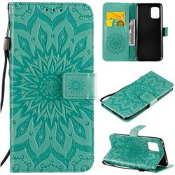 Embossing Sunflower Leather Wallet Case for Xiaomi Mi 10 Lite - Green