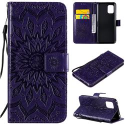 Embossing Sunflower Leather Wallet Case for Xiaomi Mi 10 Lite - Purple