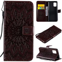 Embossing Sunflower Leather Wallet Case for Xiaomi Mi 10 Lite - Brown