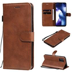 Retro Greek Classic Smooth PU Leather Wallet Phone Case for Xiaomi Mi 10 Lite - Brown