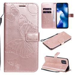 Embossing 3D Butterfly Leather Wallet Case for Xiaomi Mi 10 Lite - Rose Gold