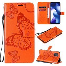 Embossing 3D Butterfly Leather Wallet Case for Xiaomi Mi 10 Lite - Orange