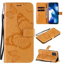 Embossing 3D Butterfly Leather Wallet Case for Xiaomi Mi 10 Lite - Yellow