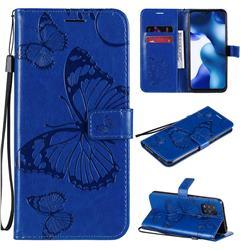 Embossing 3D Butterfly Leather Wallet Case for Xiaomi Mi 10 Lite - Blue