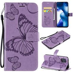 Embossing 3D Butterfly Leather Wallet Case for Xiaomi Mi 10 Lite - Purple