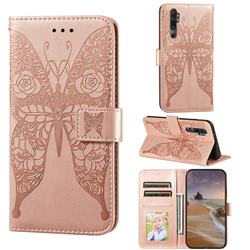 Intricate Embossing Rose Flower Butterfly Leather Wallet Case for Xiaomi Mi 10 Lite - Rose Gold