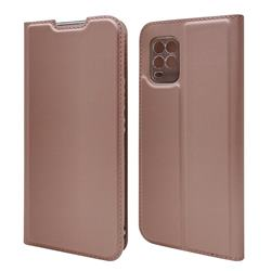 Ultra Slim Card Magnetic Automatic Suction Leather Wallet Case for Xiaomi Mi 10 Lite - Rose Gold