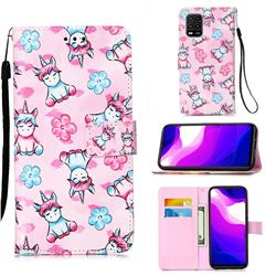 Unicorn and Flowers Matte Leather Wallet Phone Case for Xiaomi Mi 10 Lite