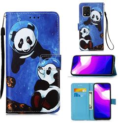 Undersea Panda Matte Leather Wallet Phone Case for Xiaomi Mi 10 Lite