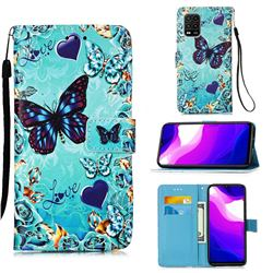 Love Butterfly Matte Leather Wallet Phone Case for Xiaomi Mi 10 Lite